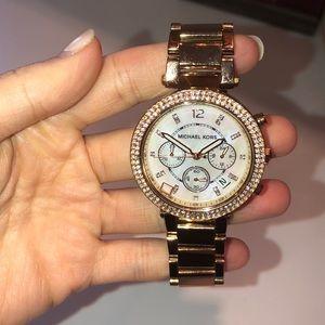 Michael Kors rose gold studded watch